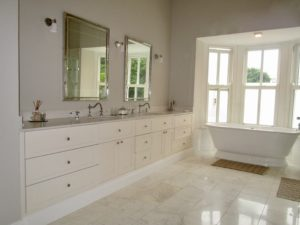 Vanity cupboards and basins in a Woodhouse bathroom