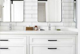 Vanity cupboards and subway tiles