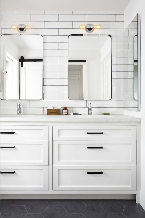 Vanity cupboard with subway tiles by Woodhouse